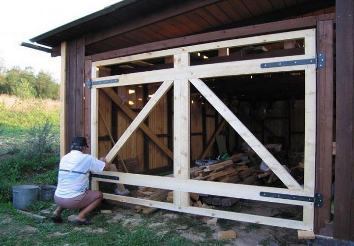 Ворота на гараж распашные своими руками фото 134